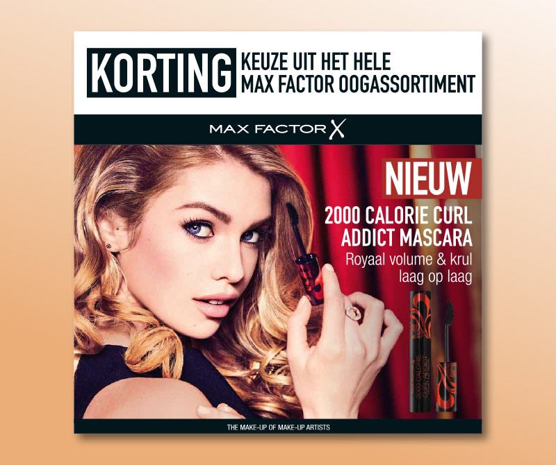 Max Factor topkaart kartonnen displays