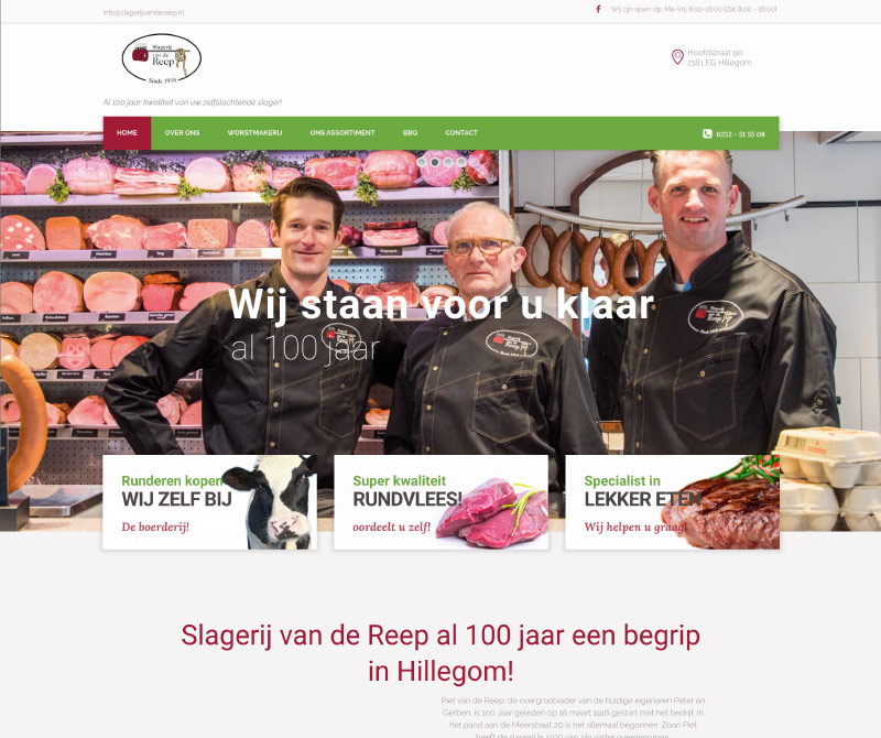 Webdesign van WordPress templates slagerij van de Reep website