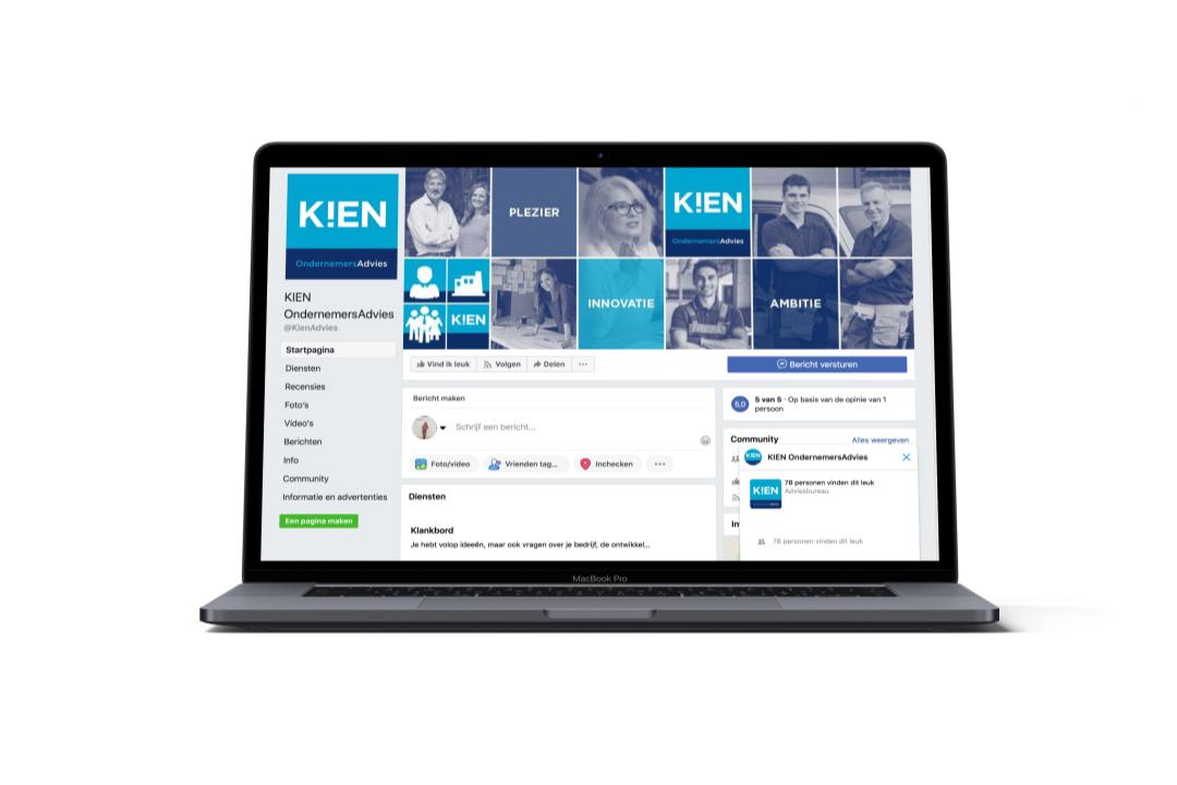 voorbeeld laptop met social media pagina van K!EN Ondernemersadvies