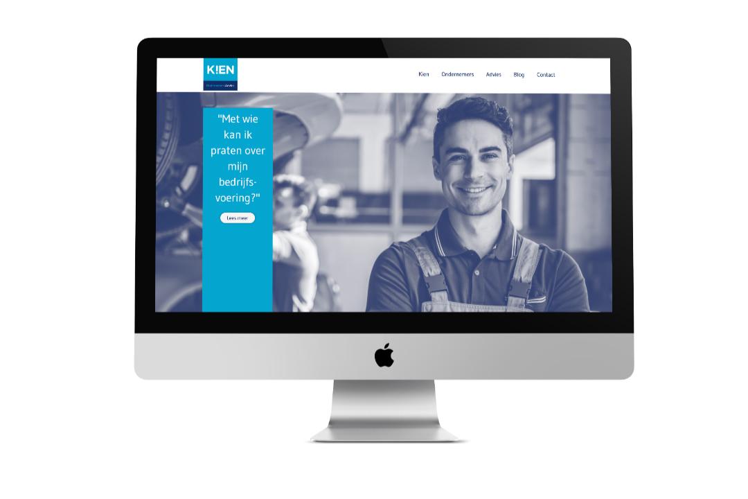 voorbeeld van een desktop met website van K!EN Ondernemersadvies