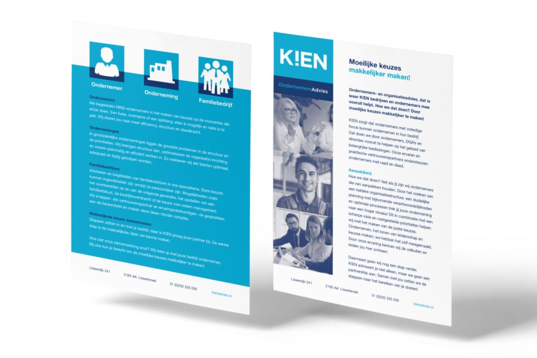 voorbeeld flyer van de huisstijl K!EN Ondernemersadvies